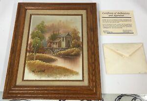 Mon ChéRi Vintage W.zeller Moulin Maison Peinture à L'huile Cadre En Bois Signée Artiste