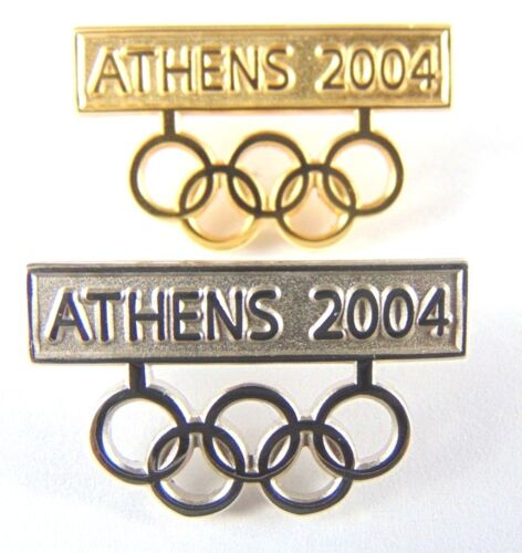 Athens Olympic Games 2004 Pin Badge Gold Silver Tone Olympic Rings x 2 pins