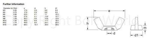 M10 10mm METRIC COARSE THREAD NYLON WING NUTS PLASTIC WINGNUT DIN 315 NUT