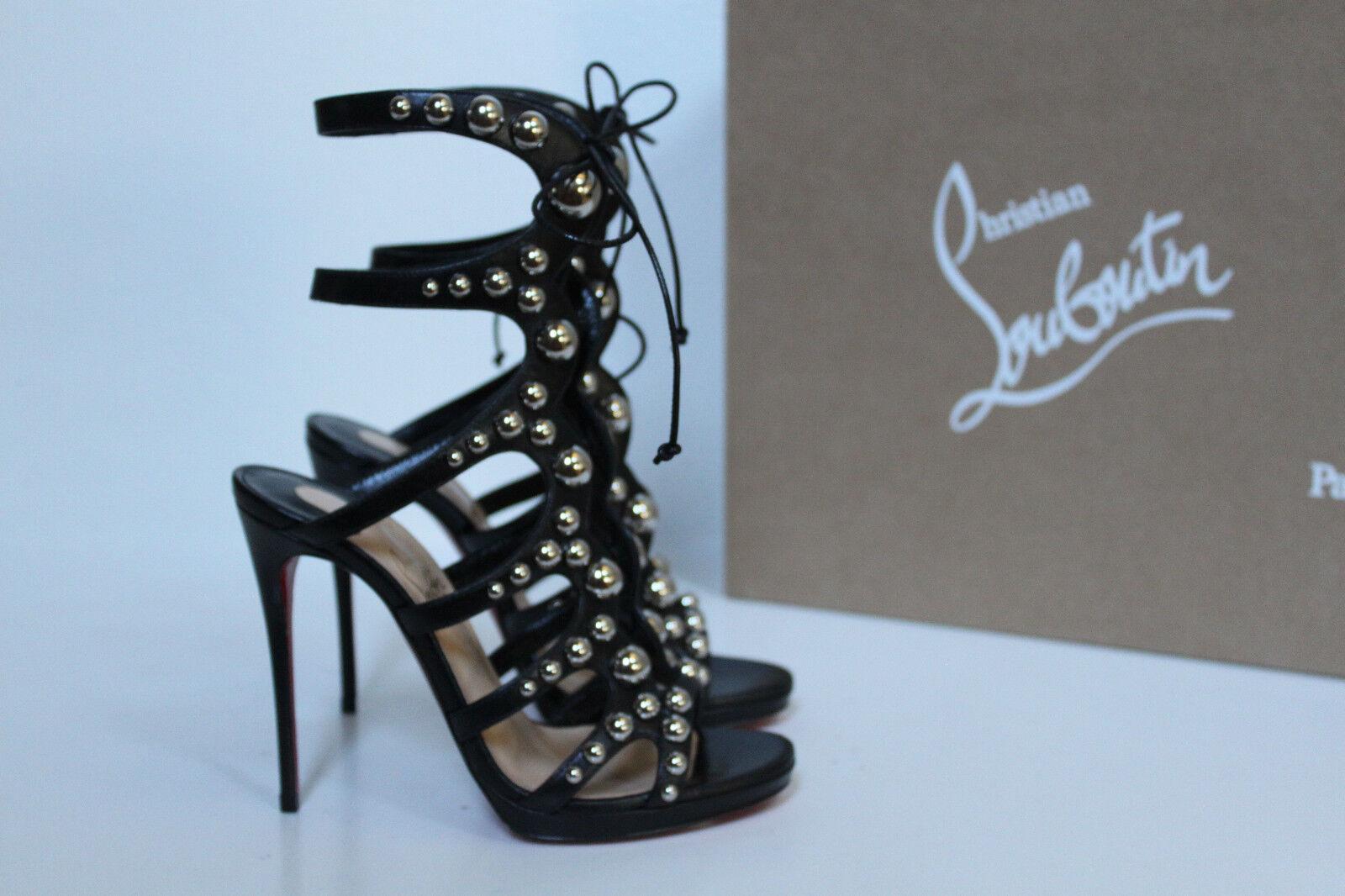 Sz 5   35.5 Christian Louboutin Amazoubille Ghillie Black Cage Sandal Pump shoes