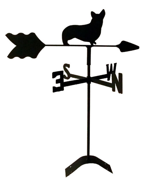 corgi weathervane black wrought iron look  roof mount made in usa TLS1009RM