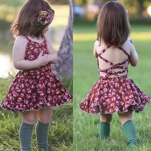 Toddler Baby Kids Girl Floral Straps Backless Party Princess Tutu Dress Sundress