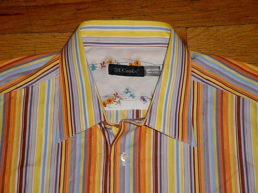 St. Croix Variegated Stripe Long Sleeve Sport Shirt Yellow-Multi Contrast-Cuffs
