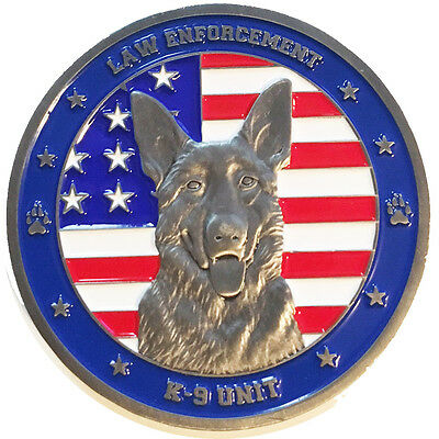 American Flag Law Enforcement / Police - K9 Unit Challenge Coin- Thin Blue Line