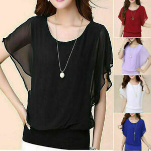 New-Women-039-s-Ladies-Casual-Loose-Chiffon-Long-Sleeve-Blouse-Tops-Fashion-T-Shirt