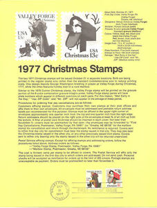 #7718 13c Christmas-Valley Forge #1729-30 Souvenir Page