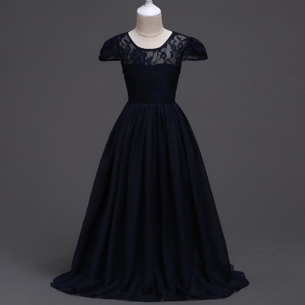 Floor length Navy Princess Bridesmaid Party Flower Girls Dress 13/14T #O33 MG