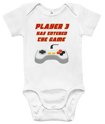Player 3 has Entered The Game Controller Cute Funny Babygrow Bodysuit