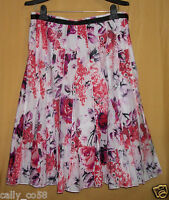 Focus Lifestyle Womens Pink Floral Multi Full Flared Pleated Top Dress Skirt $79
