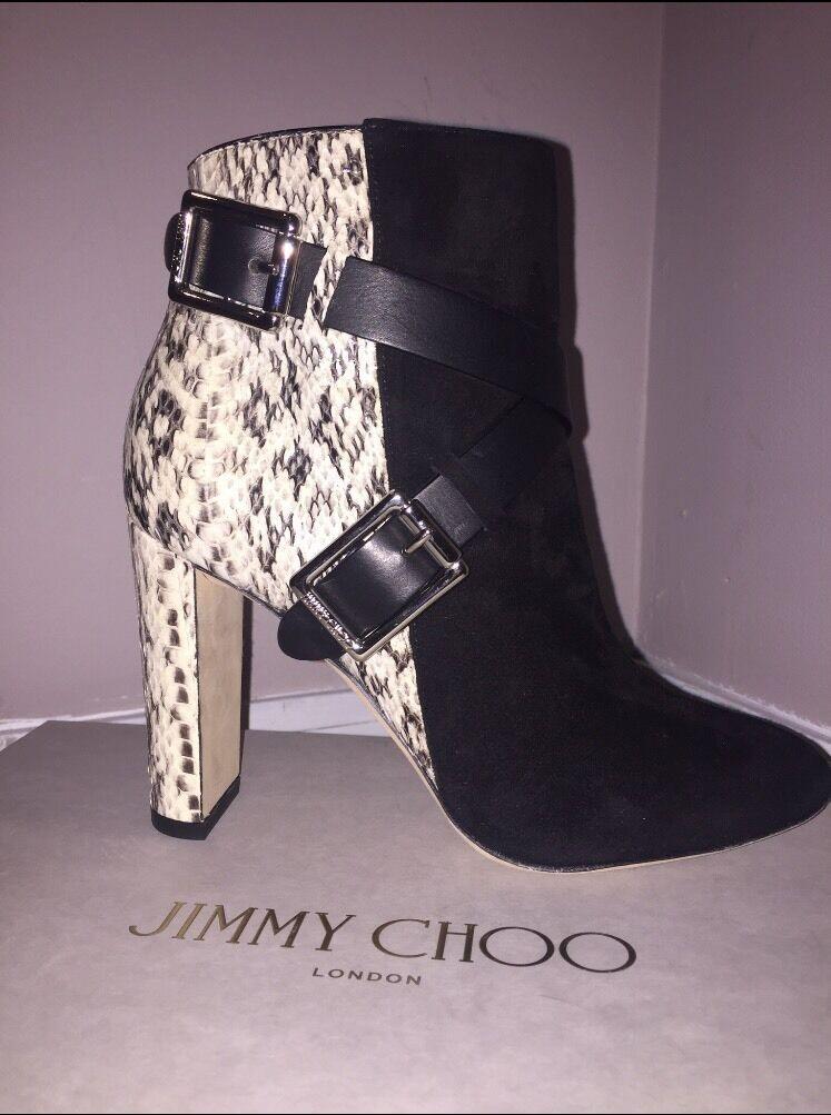 prezzi equi Jimmy Choo Dee 100 Suede Natural Gloss Elaphe nero Vachetta Vachetta Vachetta Leather stivali 36.5  edizione limitata