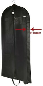 Premium Black Garment Bag Travel and Storage Breathable Eyehole and Carry Handle