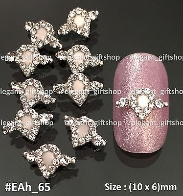 10pcs SUPERIOR Jewelry Nail Art Tips Decoration White Alloy Rhinestones #EAh65