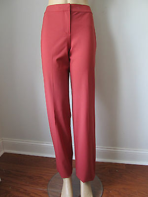 NEW ST JOHN KNIT SIZE 2 WOMENS PANTS CINNABAR STAIGHT LEG LIGHT WOOL