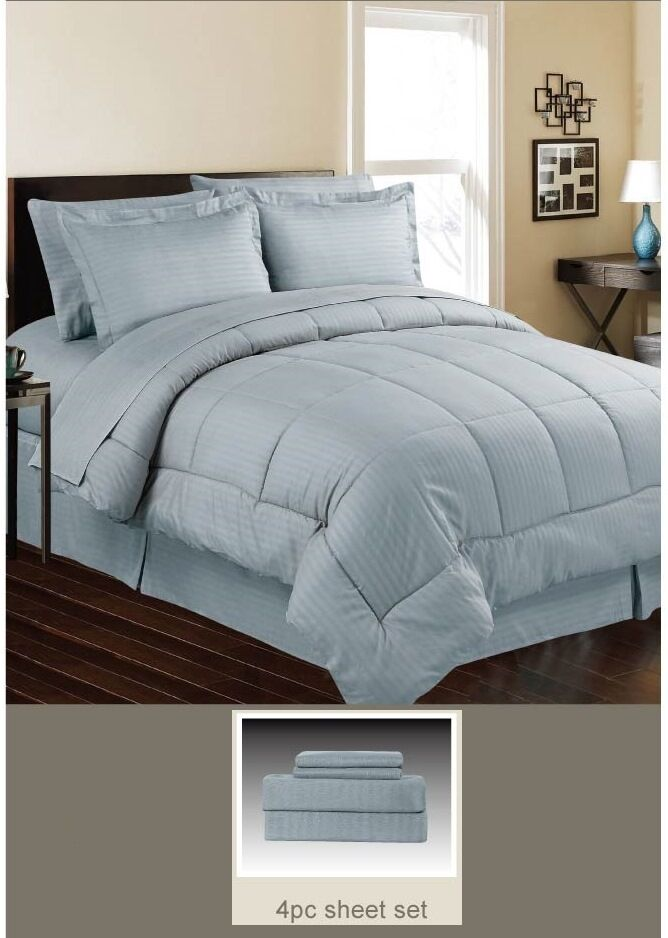 DOWN ALTERNATIVE 5 PC BED SET, COMFORTER AND SHEET SET, QUEEN, KING, LIGHT Blau