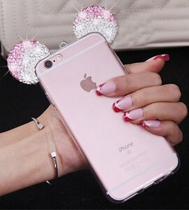 new concept c4015 c7979 Details about for iPhone 6+ / 6S+ PLUS - Pink Diamond Rhinestone Minnie  Mouse Ears Rubber Case