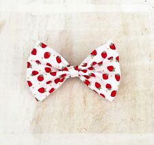 White with cute red strawberry print Pin Up hair bow clip
