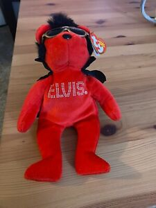 Elvis Beanie Baby Ty Shake, Rattle, And Roll Teddy Bear Red