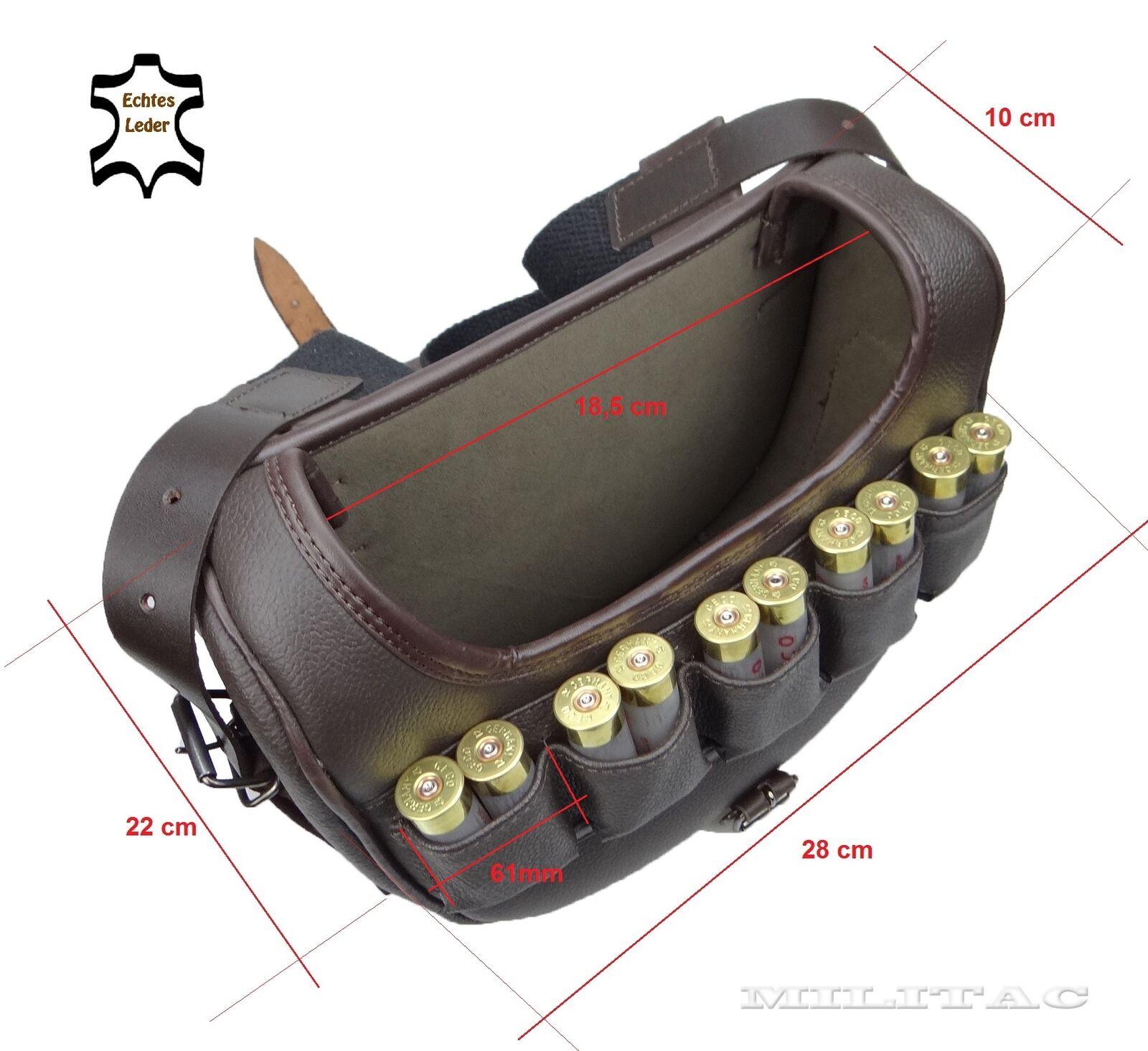 Handarbeit Jäger Munition Tasche Edle Rind Leder Braun Bestee Bestee Bestee Sattlerarbeit Jagd 65bbbc