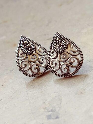 Markasit Ohrstecker Tropfen 15 mm Design Ohrringe 925 Sterling Silber #o238
