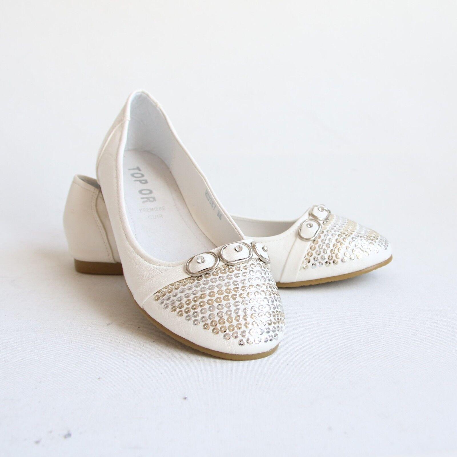 Moda jest prosta i niedroga Ballerinas Weiß 40 Mokassins Slippers Halbschuhe Damenschuhe Schuhe  HU367