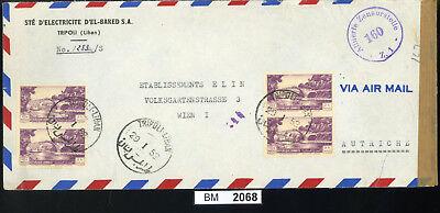 Bm2068, Libanon, 1952, Tripoli - Wien, Luftpost Mit Alliiertem Zensurstempel Neueste Mode