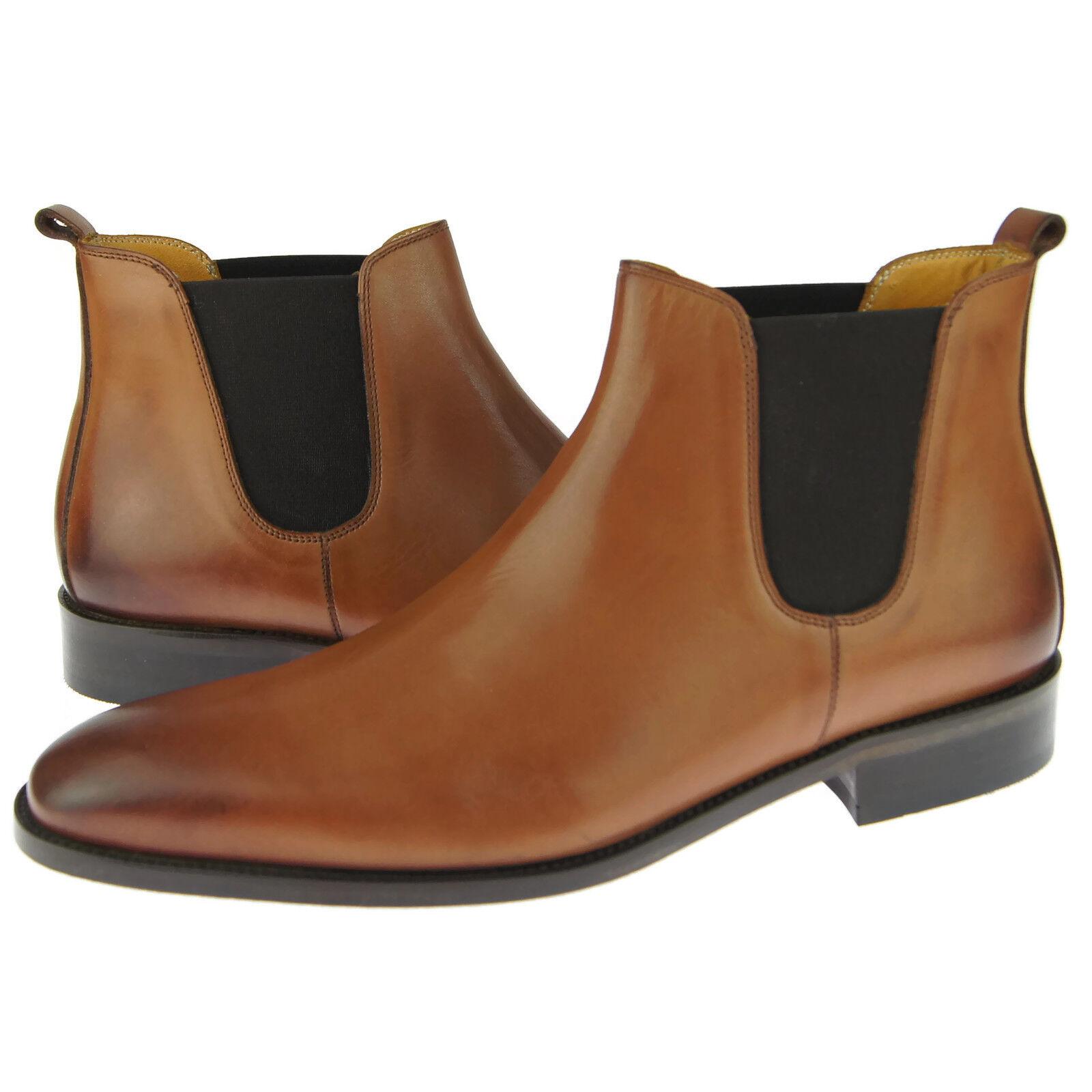 Alex D  Austin  Chelsea, hombre de vestir botas al Tobillo Informales de Cuero, Coñac