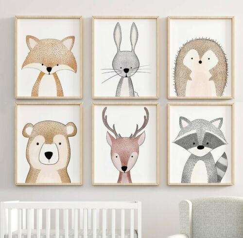 Woodland Nursery Art Prints Woodland Forest Nursery Deco Animal Nursery Decor