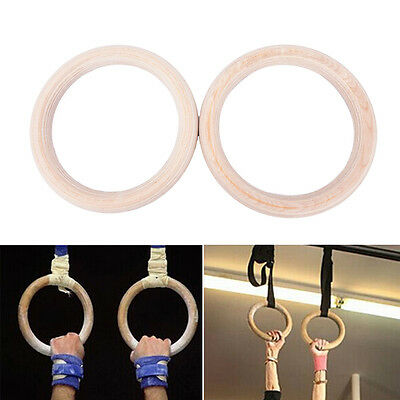 2X Wooden ring crossfit gymnastics rings shoulder strength training equipmen il