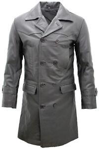 Mens-Classic-Black-Uboat-German-Naval-Military-Pea-Coat-Cowhide-Leather-Jacket