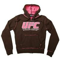 "UFC WOMENS BRAND NEW ""SHERPA"" ZIP UP BROWN & PINK HOODED SWEATSHIRT SIZE X-SMALL"