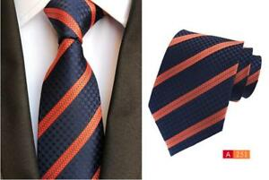 DéLicieux Bleu Marine Cravate Bleu Et Rayure Orange à Motifs Fait Main 8 Cm 100% Soie Homme Cravatte-afficher Le Titre D'origine