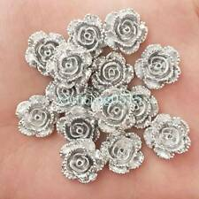 New 20pcs 14mm Resin rose Flatback stone scrapbook Wedding buttons DIY  /silver