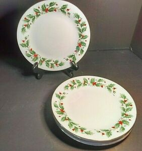 Christmas-China-Pearl-Noel-Salad-Plate-Set-of-3-Holly-amp-Berries-Black-Backstamp