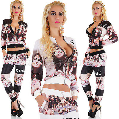 SEXY JOGGING*-ANZUG 2-TEILER TRACKSUIT FITNESS* ANZUG* FACE PRINT ONE SIZE 36-38