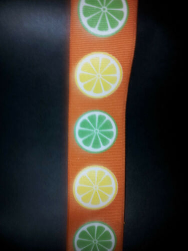 Wire Edge Ribbon 38mm Orange Grosgrain Lemon /& Lime Print High quality New