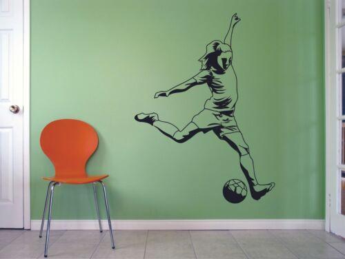Women Kick Teen Sport Soccer Girl Wall Sticker Vinyl Art Home Room Decals Decor