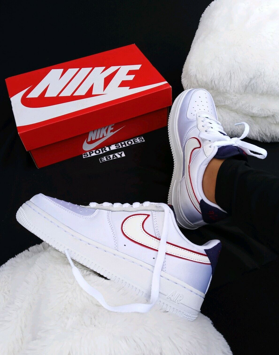 6 Women's Nike  Air Force 1 Low NSW Pearl White Navy Red AA0287-103 SNEAKERS