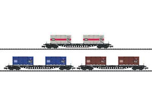 Minitrix 15961 Güterwwagenset Transport De Conteneurs Db Epoque Iv 3 Pièces Neuf