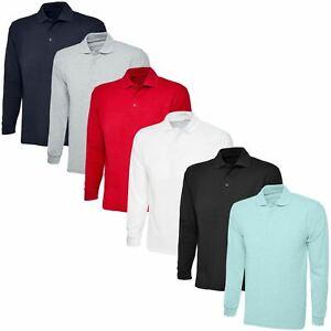 Long-Sleeve-Polo-Shirt-Top-Tee-PK-Plain-Sports-Casual-Golf-Fashion-Mens-Unisex