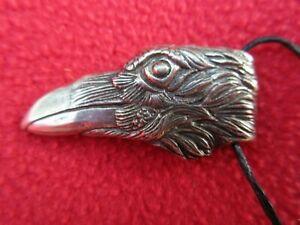 Very-Special-Cast-Bronze-Raven-Crow-Head-Pendant-Necklace