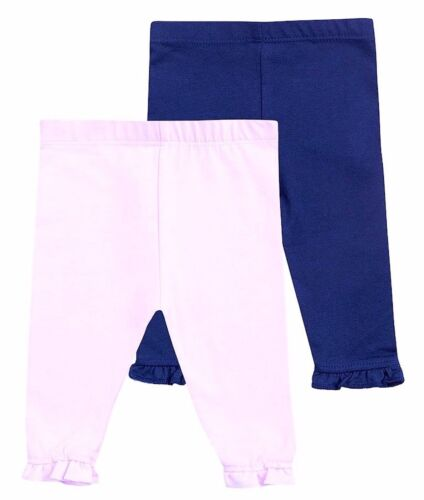 Baby Girl Legging Long Trouser Pants 2 x pairs Pack Cotton Stretch,3,6,9,12 mths