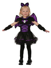 Bat Princess Toddler Girls Halloween Dress Costume Outfit & Wings New Age 2-3
