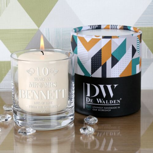 Engraved 10th Wedding Anniversary Candle Holder Gift Idea with Pillar Candle