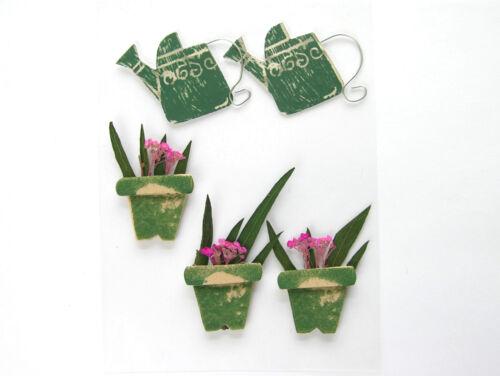 scrapbooking Regadera y flor olla Pegatinas cardmaking nuevo manualidades