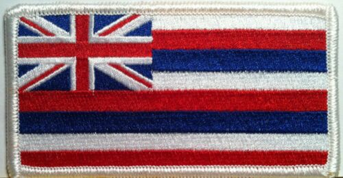 State of Hawaii Flag Iron-On Patch Biker Army Emblem White Border