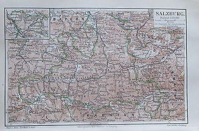 SALZBURG 1897 original historische Landkarte Stadtplan Lithographie city map