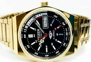 CITIZEN-AUTOMATIC-8200-MEN-GOLD-PLATED-VINTAGE-BLACK-DIAL-MADE-JAPAN-WATCH