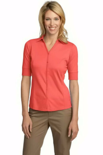 Port Authority Women/'s Interlock Button Front Polo Shirt