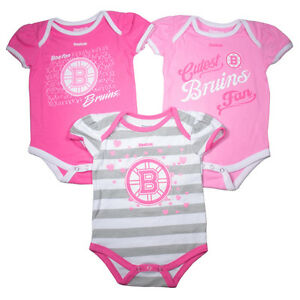 a3b79bc1d Boston Bruins Cute Baby Infant Girl Gift Set of 3 Pink Bodysuits ...