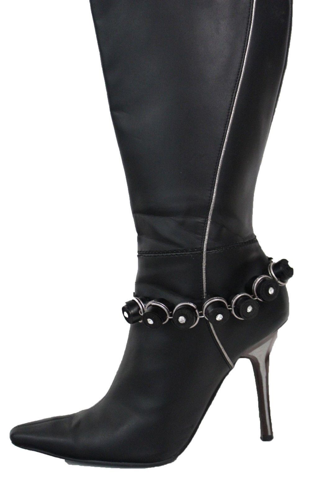 Women Boot Bracelet Silver Metal Chain Bling Anklet Shoe Black Fabric Charm Bead